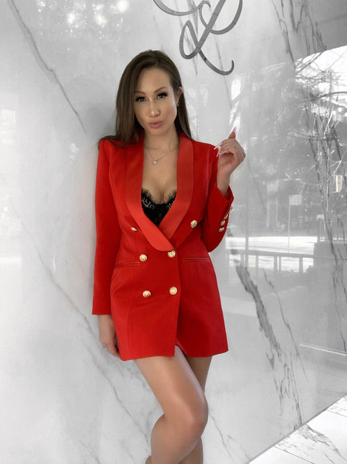 Billionaire Babe Blazer Dress, Women's Red Blazer Dresses