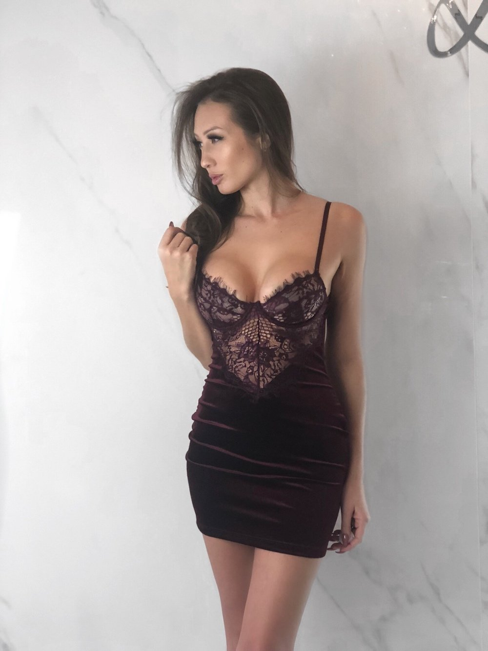 Brittany Dress, Women's Wine Red Dresses