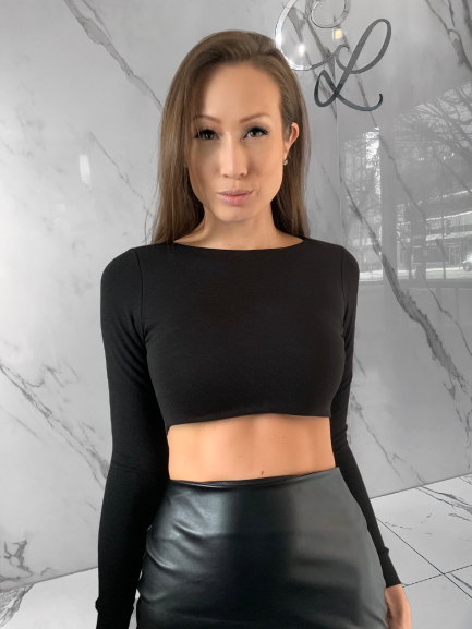 Candance Black Top, Women's Black Tops