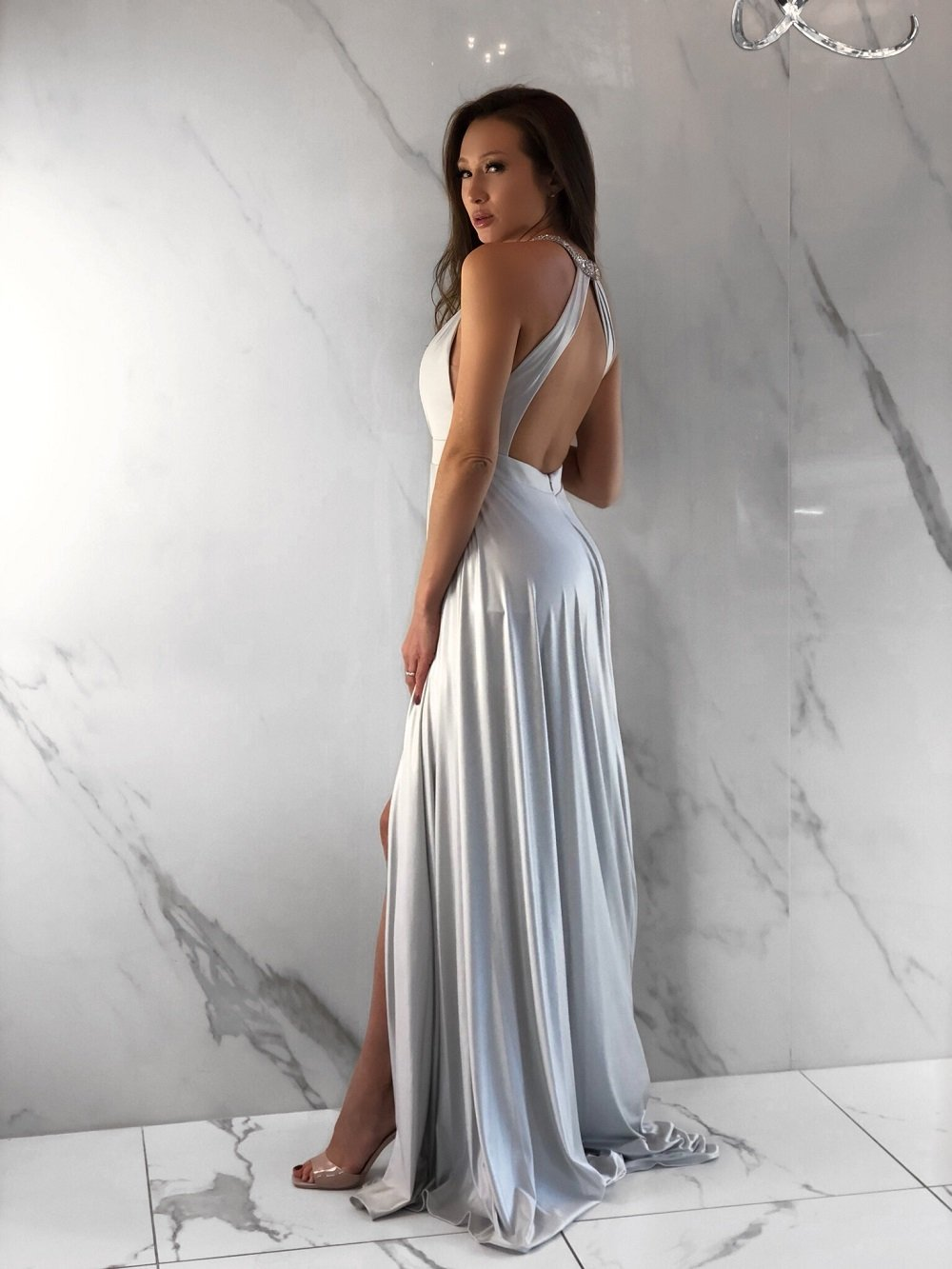Longoria Dress, Women's Silver Dresses