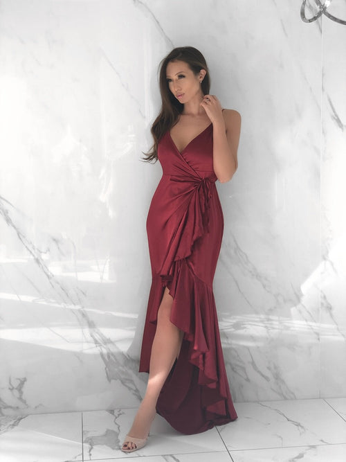 Marriot Dress, Women's Wine Red Dresses