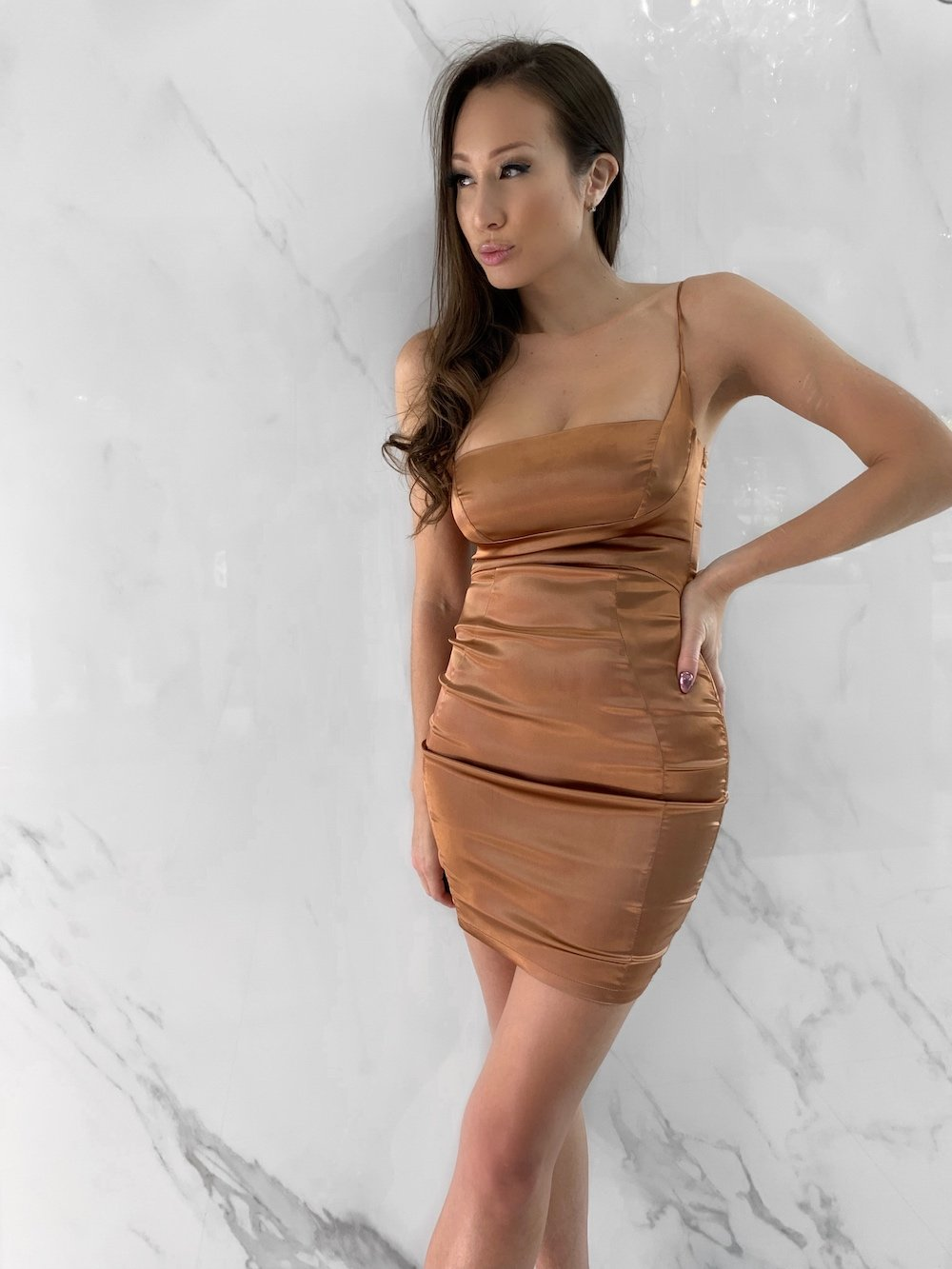 Newsha Dress, Women's Brown Dresses