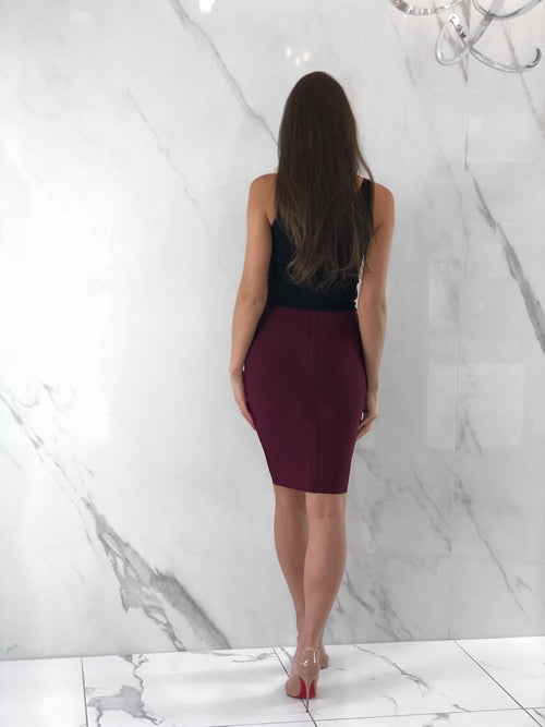 Nina Skirt, Women's Wine Red Skirts