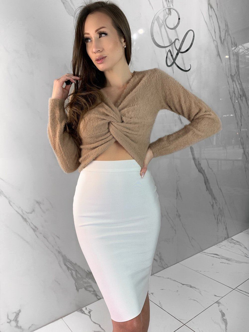 Norie Top, Women's Taupe Tops