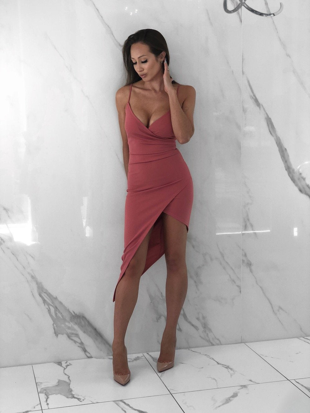 Selena Long Dress, Women's Mauve Dresses