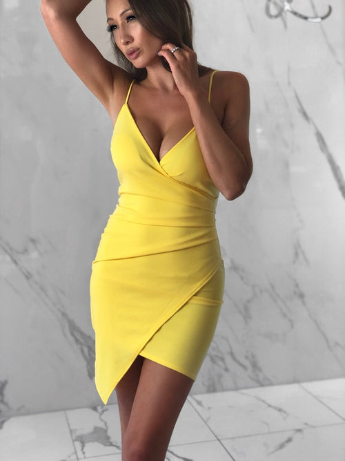selena-asymmetrical-short-slit-neon-yellow-dress-spaghetti-straps