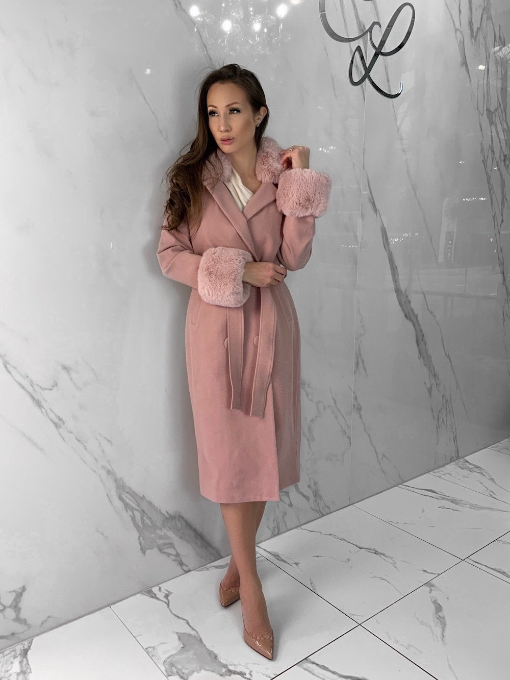Yvonne Coat, Women's Pink Coats