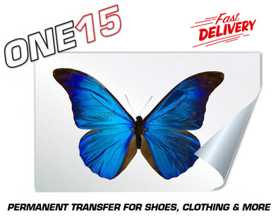 BLUE BUTTERFLY PERMANENT FULL COLOR HEAT ACTIVATED TRANSFER FOR LEATHER, FABRIC, CLOTHING ETC