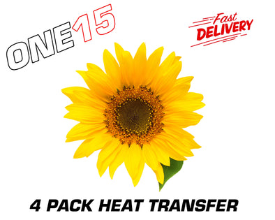 SUNFLOWER BUTTERFLY PREMIUM FULL COLOR HEAT ACTIVATED TRANSFER FOR LEATHER, FABRIC, WOOD, PLASTIC, GLASS ETC