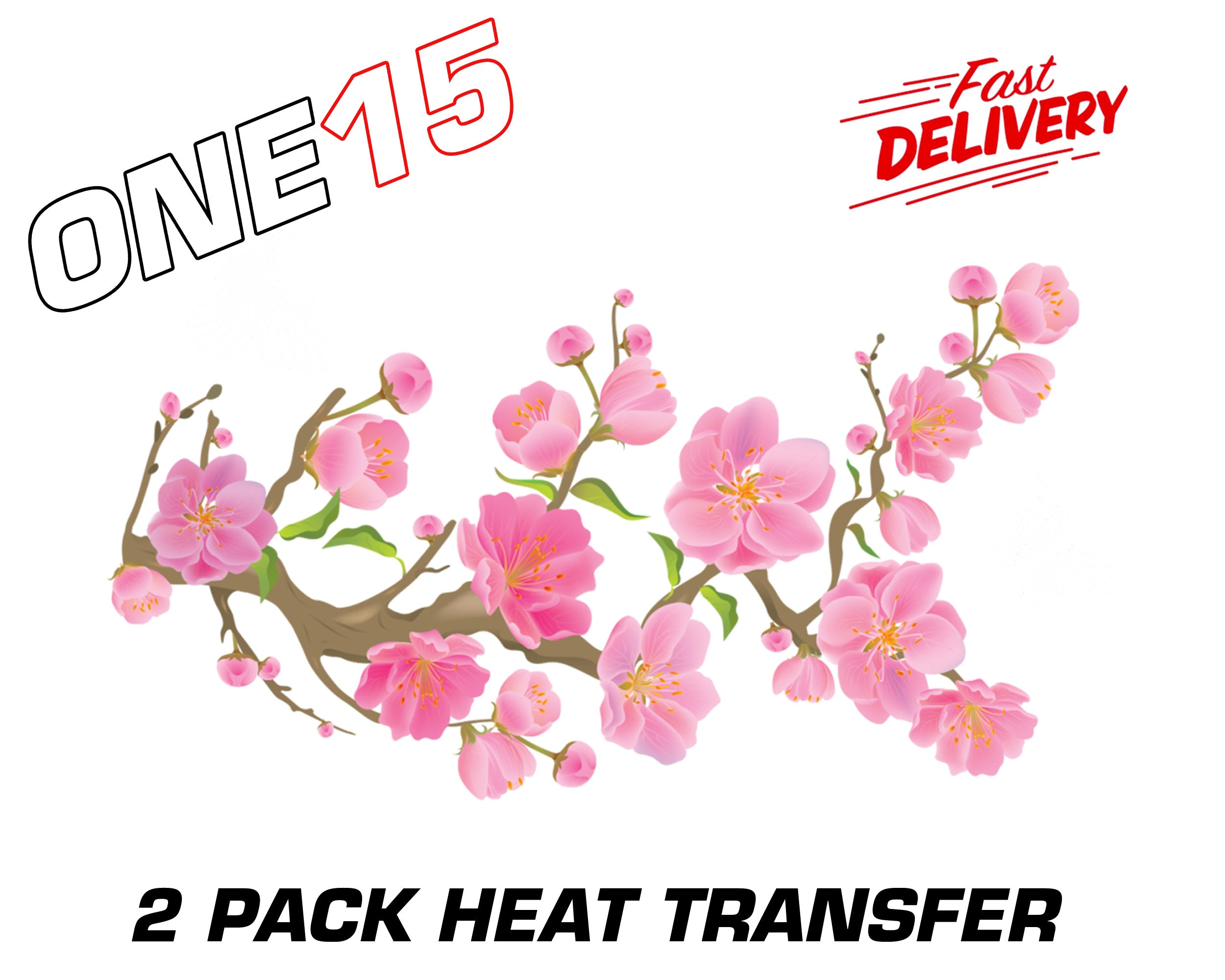 Cherry blossom permanent full color heat activated iron on transfer for shoes pack clothing etc