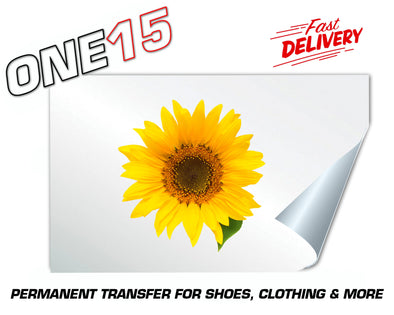 SUNFLOWER PERMANENT FULL COLOR HEAT ACTIVATED TRANSFER FOR LEATHER, FABRIC, CLOTHING ETC