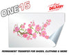 CHERRY BLOSSOM PERMANENT FULL COLOR HEAT ACTIVATED TRANSFER FOR LEATHER, FABRIC, CLOTHING ETC