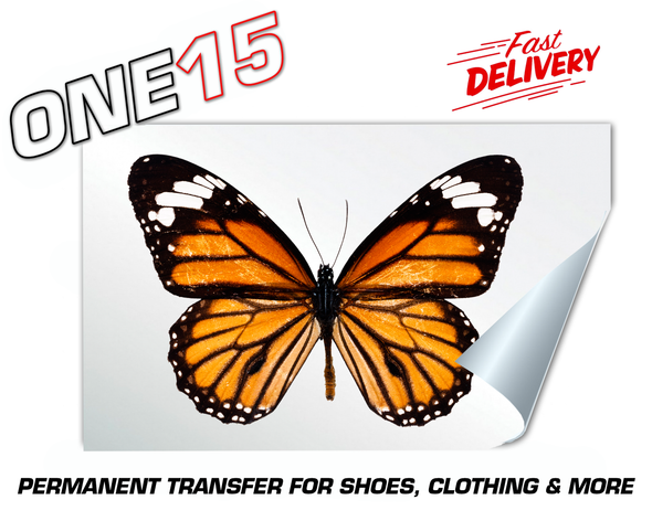 ORANGE BUTTERFLY PERMANENT FULL COLOR HEAT ACTIVATED TRANSFER FOR LEATHER, FABRIC, CLOTHING ETC