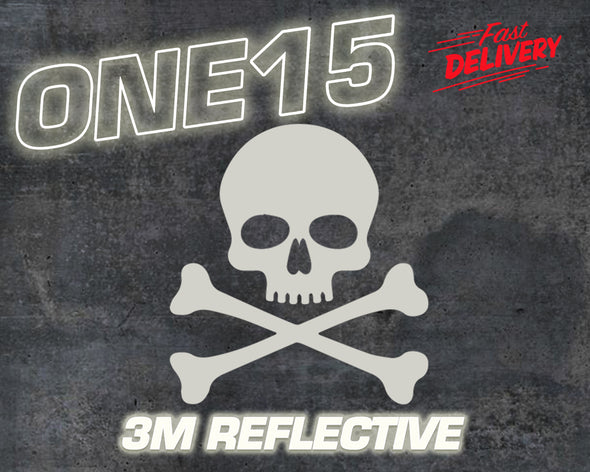 SKULL & BONES 3M REFLECTIVE HEAT ACTIVATED TRANSFER FOR LEATHER, FABRIC, WOOD, PLASTIC, GLASS ETC
