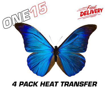 BLUE BUTTERFLY PREMIUM FULL COLOR HEAT ACTIVATED TRANSFER FOR LEATHER, FABRIC, WOOD, PLASTIC, GLASS ETC