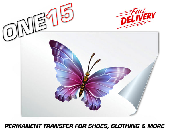 MULTI COLOR BUTTERFLY PERMANENT FULL COLOR HEAT ACTIVATED TRANSFER FOR LEATHER, FABRIC, CLOTHING ETC