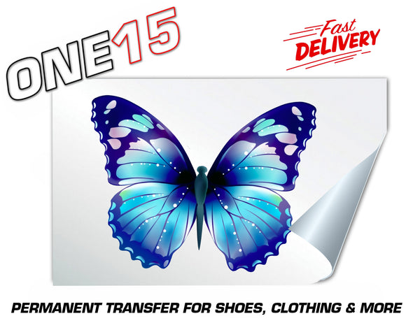 BLUE FANTASY BUTTERFLY PERMANENT FULL COLOR HEAT ACTIVATED TRANSFER FOR LEATHER, FABRIC, CLOTHING ETC