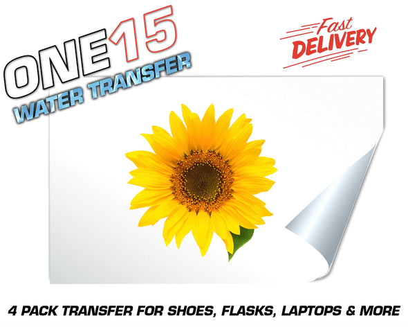 SUNFLOWER FULL COLOR WATER ACTIVATED TRANSFER FOR SHOES, FLASKS, CUPS, LAPTOPS ETC