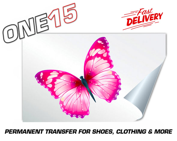 PINK FANTASY BUTTERFLY PERMANENT FULL COLOR HEAT ACTIVATED TRANSFER FOR LEATHER, FABRIC, CLOTHING ETC