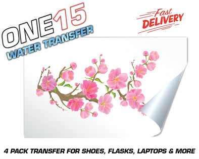CHERRY BLOSSOM FULL COLOR WATER ACTIVATED TRANSFER FOR SHOES, FLASKS, CUPS, LAPTOPS ETC