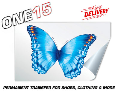 SKY BLUE BUTTERFLY PERMANENT FULL COLOR HEAT ACTIVATED TRANSFER FOR LEATHER, FABRIC, CLOTHING ETC