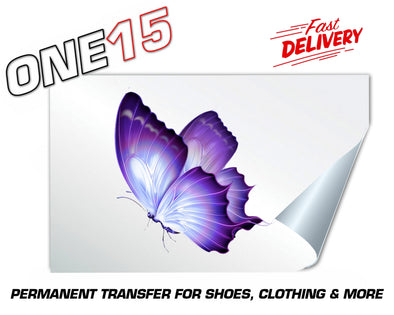 SIDE PURPLE BUTTERFLY PERMANENT FULL COLOR HEAT ACTIVATED TRANSFER FOR LEATHER, FABRIC, CLOTHING ETC