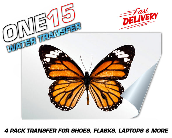 ORANGE BUTTERFLY FULL COLOR WATER ACTIVATED TRANSFER FOR SHOES, FLASKS, CUPS, LAPTOPS ETC