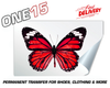 RED BUTTERFLY PERMANENT FULL COLOR HEAT ACTIVATED TRANSFER FOR LEATHER, FABRIC, CLOTHING ETC