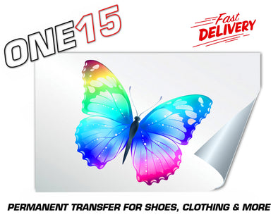 RAINBOW BUTTERFLY PERMANENT FULL COLOR HEAT ACTIVATED TRANSFER FOR LEATHER, FABRIC, CLOTHING ETC