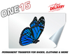 SIDE PROFILE BLUE BUTTERFLY PERMANENT FULL COLOR HEAT ACTIVATED TRANSFER FOR LEATHER, FABRIC, CLOTHING ETC