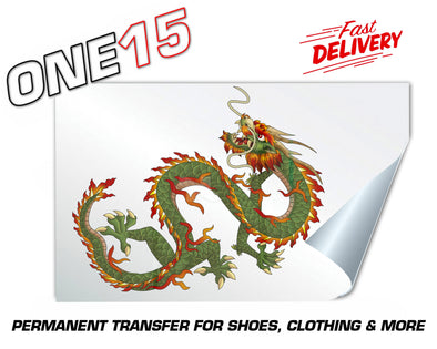 GREEN DRAGON PERMANENT FULL COLOR HEAT ACTIVATED TRANSFER FOR LEATHER, FABRIC, CLOTHING ETC