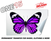 PURPLE BUTTERFLY PERMANENT FULL COLOR HEAT ACTIVATED TRANSFER FOR LEATHER, FABRIC, CLOTHING ETC