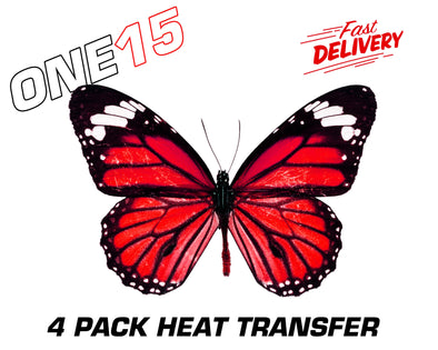 RED BUTTERFLY PREMIUM FULL COLOR HEAT ACTIVATED TRANSFER FOR LEATHER, FABRIC, WOOD, PLASTIC, GLASS ETC