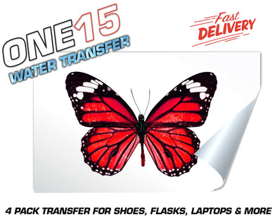 RED BUTTERFLY FULL COLOR WATER ACTIVATED TRANSFER FOR SHOES, FLASKS, CUPS, LAPTOPS ETC