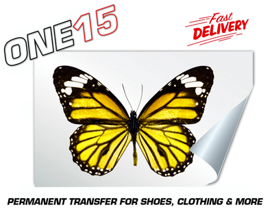 YELLOW BUTTERFLY PERMANENT FULL COLOR HEAT ACTIVATED TRANSFER FOR LEATHER, FABRIC, CLOTHING ETC