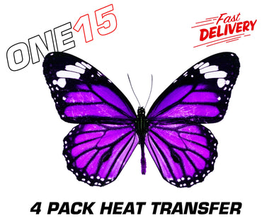 PURPLE BUTTERFLY PREMIUM FULL COLOR HEAT ACTIVATED TRANSFER FOR LEATHER, FABRIC, WOOD, PLASTIC, GLASS ETC