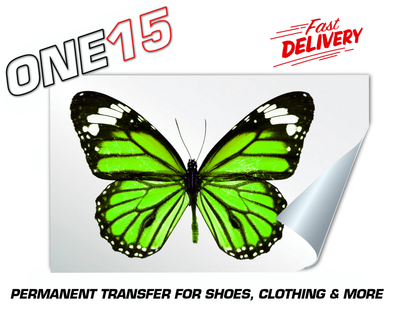 GREEN BUTTERFLY PERMANENT FULL COLOR HEAT ACTIVATED TRANSFER FOR LEATHER, FABRIC, CLOTHING ETC