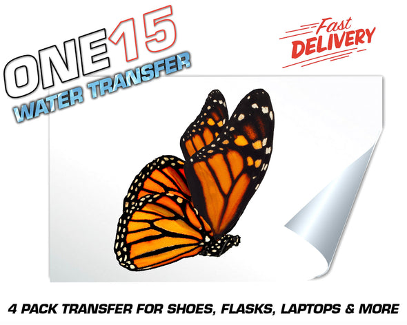 SIDE PROFILE ORANGE BUTTERFLY FULL COLOR WATER ACTIVATED TRANSFER FOR SHOES, FLASKS, CUPS, LAPTOPS ETC