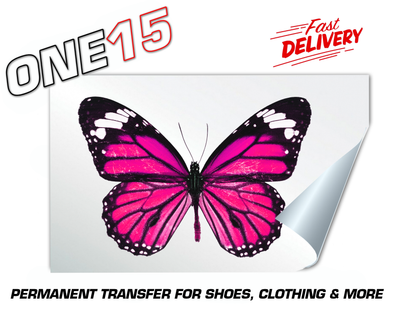 PINK BUTTERFLY PERMANENT FULL COLOR HEAT ACTIVATED TRANSFER FOR LEATHER, FABRIC, CLOTHING ETC