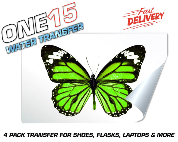 GREEN BUTTERFLY FULL COLOR WATER ACTIVATED TRANSFER FOR SHOES, FLASKS, CUPS, LAPTOPS ETC