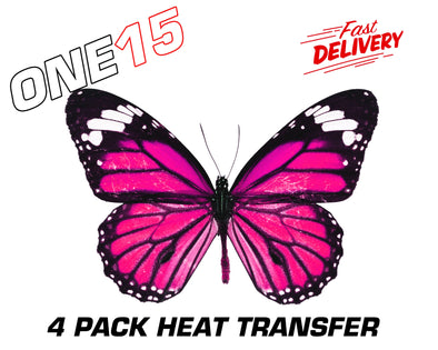PINK BUTTERFLY PREMIUM FULL COLOR HEAT ACTIVATED TRANSFER FOR LEATHER, FABRIC, WOOD, PLASTIC, GLASS ETC