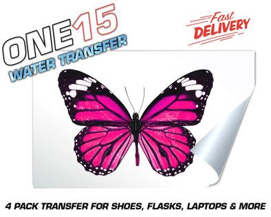PINK BUTTERFLY FULL COLOR WATER ACTIVATED TRANSFER FOR SHOES, FLASKS, CUPS, LAPTOPS ETC