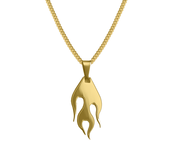 GOLD HOT ROD FLAME PENDANT NECKLACE