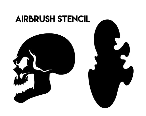 SKULL & SMOKE FLAME REUSABLE AIRBRUSH STENCIL SIZE PACK