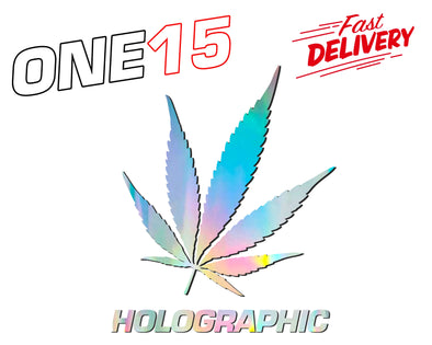 WEED LEAF HOLOGRAPHIC RAINBOW CHROME BUTTERFLY HEAT ACTIVATED TRANSFER FOR LEATHER, FABRIC, WOOD, PLASTIC, GLASS ETC