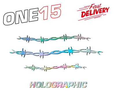 BARBED WIRE HOLOGRAPHIC RAINBOW CHROME BUTTERFLY HEAT ACTIVATED TRANSFER FOR LEATHER, FABRIC, WOOD, PLASTIC, GLASS ETC