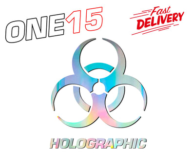 BIOHAZARD HOLOGRAPHIC RAINBOW CHROME BUTTERFLY HEAT ACTIVATED TRANSFER FOR LEATHER, FABRIC, WOOD, PLASTIC, GLASS ETC