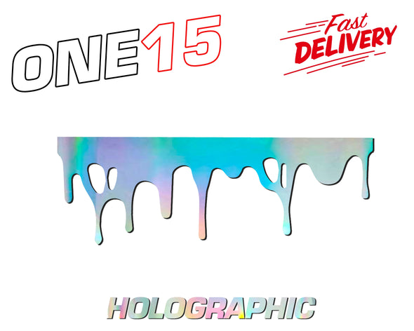 DRIP DECAL HOLOGRAPHIC RAINBOW CHROME BUTTERFLY HEAT ACTIVATED TRANSFER FOR LEATHER, FABRIC, WOOD, PLASTIC, GLASS ETC
