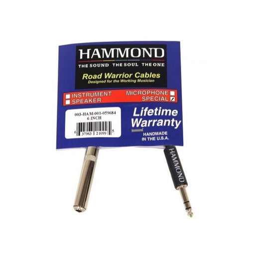 Hammond 1/4″ Mono Female to Stereo Male Cable Adapter, 6""