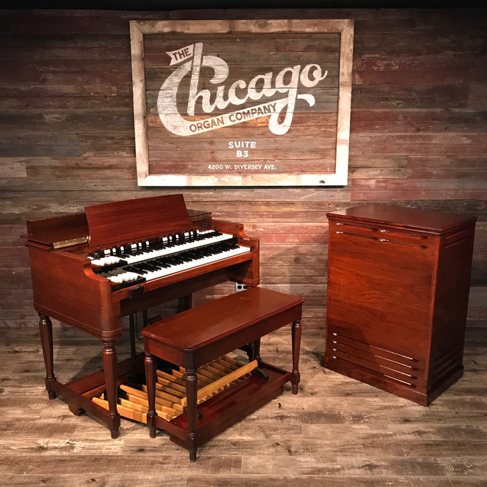 Hammond Vintage (1957) B-3 Organ and Leslie Type 122 Rotary Speaker - Red Mahogany View 2